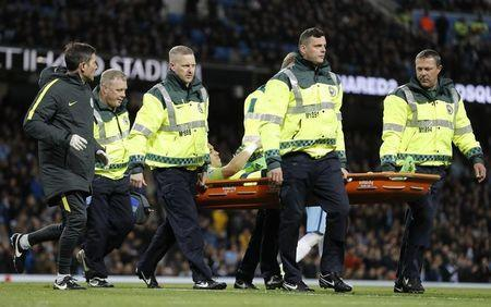 Britain Soccer Football - Manchester City v Manchester United - Premier League - Etihad Stadium - 27/4/17 Manchester City's Claudio Bravo is stretchered off injured Reuters / Darren Staples Livepic
