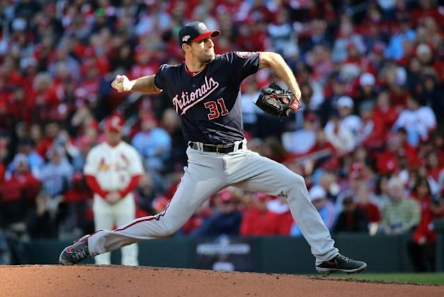 Washington Nationals ace Max Scherzer delivers a pitch during the second inning of game two of the National League Championship Series against the St. Louis Cardinals (AFP Photo/Scott Kane)