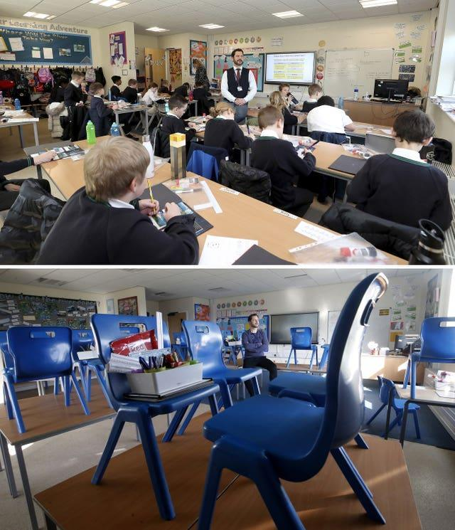 Composite of photos of Simon Cotterill, Head Teacher of Manor Park School and Nursery in Knutsford Cheshire, on 22/03/21 (top) and the same view on 24/03/20 (bottom), the day after Prime Minister Boris Johnson put the UK in lockdown