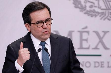 Mexico's Economy Minister Ildefonso Guajardo speaks to the media during a news conference at Los Pinos presidential residence in Mexico City