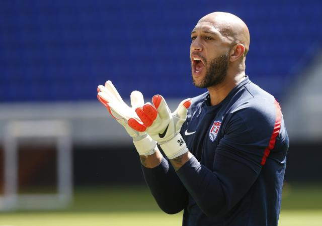 Goalkeeper Tim Howard of the U.S. men's national soccer team reacts during a team training session in Harrison