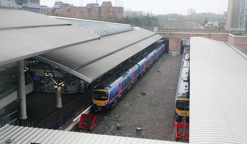 A view of Manchester Airport train station