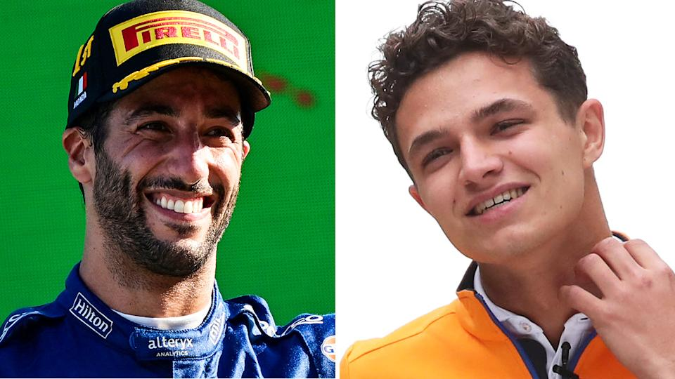 Daniel Ricciardo and Lando Norris' discussions with their respective engineers about switching to wet tyres late in the Russian GP last weekend demonstrated a stark difference in their approach. Pictures: Getty Images