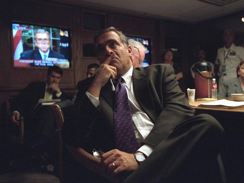 Head of the CIA watches President Bush's national address (US National Archives)