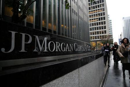 FILE PHOTO: A sign of JP Morgan Chase Bank is seen in front of their headquarters tower in Manhattan, New York, U.S., November 13, 2017. REUTERS/Amr Alfiky/File Photo