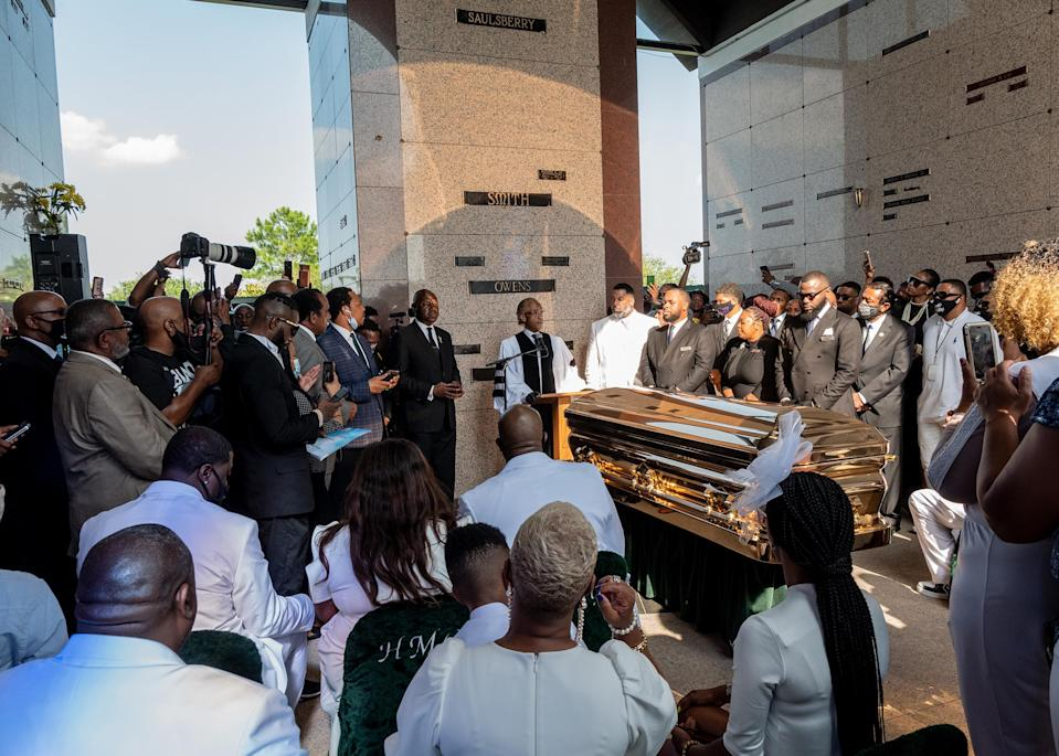 """Rev. Al Sharpton speaks at the private funeral service for George Floyd on June 9, 2020.<span class=""""copyright"""">Ruddy Roye for TIME</span>"""