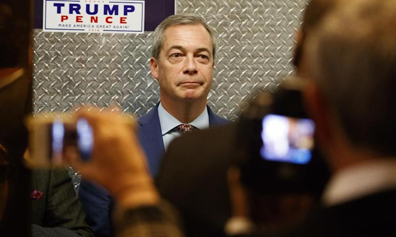 Nigel Farage gets in an elevator at Trump Tower in November 2016.
