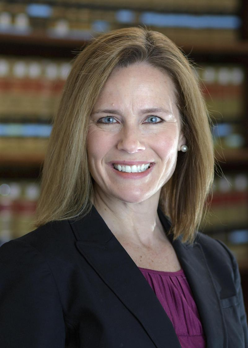 Judge Amy Coney Barrett is one of Mr Trump's top Supreme Court contendersUniversity of Notre Dame Law School via AP