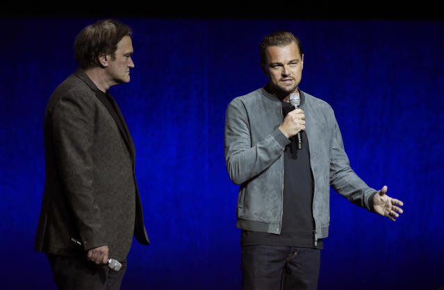 Leonardo DiCaprio, right, alongside Quentin Tarantino. (Photo: Chris Pizzello/Invision/AP)