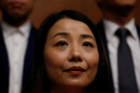 File photo of pro-democracy lawmaker Lau Siu-lai attending a news conference in Hong Kong