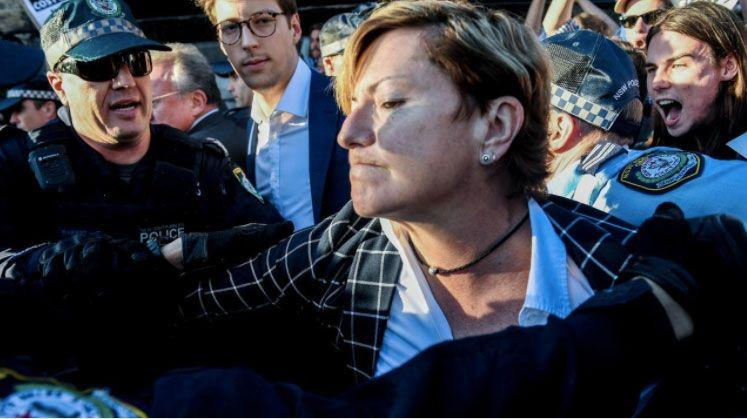 Christine Forster, Tony Abbott's sister, struggles to move through the crowd. Source: AAP