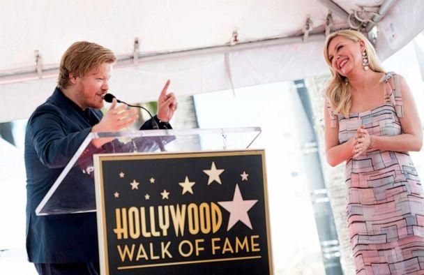 PHOTO: Actress Kirsten Dunst reacts as her partner, actor Jesse Plemons, speaks during a ceremony honoring her with a star on the Hollywood Walk of Fame on Aug. 29, 2019, in Hollywood, Calif. (Valerie Macon/AFP/Getty Images)