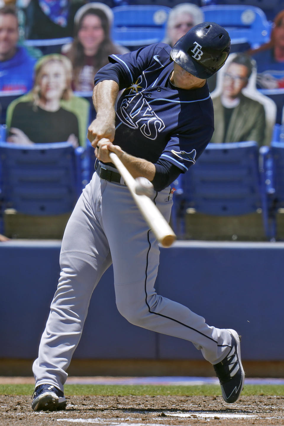 Tampa Bay Rays' Joey Wendle connects for a grand slam off Toronto Blue Jays starting pitcher Trent Thornton during the first inning of a baseball game Monday, May 24, 2021, in Dunedin, Fla. (AP Photo/Chris O'Meara)
