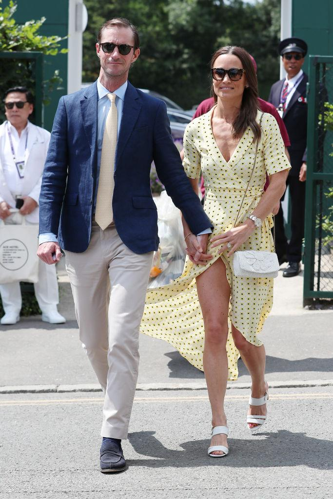 A photo of Pippa Middleton and James Matthews on Centre Court during day eleven of the Wimbledon Tennis Championships at All England Lawn Tennis and Croquet Club on July 12, 2019 in London, England.