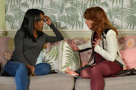 <p>Patrick and Carmel are concerned about Denise, who is still in denial about the pregnancy. To be fair, we'd be the same if we were preggers by Phil Mitchell. Carmel tries to talk to her friend about her options, but Denise is more interested in hearing about Masood.</p>