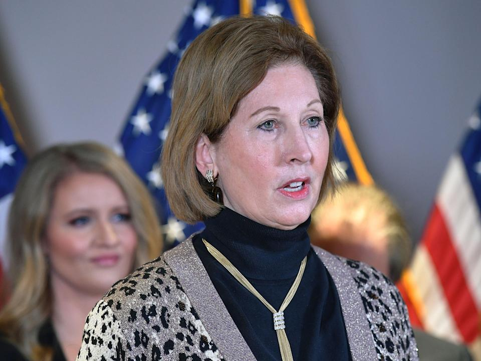 A November 19, 2020 photo shows Sidney Powell speaking during a press conference at the Republican National Committee headquarters in Washington, DC (AFP via Getty Images)