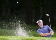 Luke List hits from a bunker on the ninth hole during the second round of the John Deere Classic golf tournament Friday, July 9, 2021, in Silvis, Ill. (Jessica Gallagher/The Dispatch – The Rock Island Argus via AP)