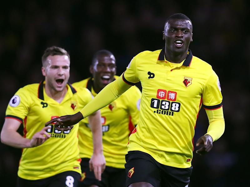 M'Baye Niang celebrates opening the scoring at Vicarage Road: Getty