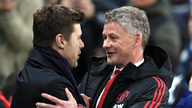 Tottenham's Mauricio Pochettino, left, is widely seen as a candidate to take over Manchester United this summer, but Ole Gunnar Solskjaer is acquitting himself well so far. (EFE)