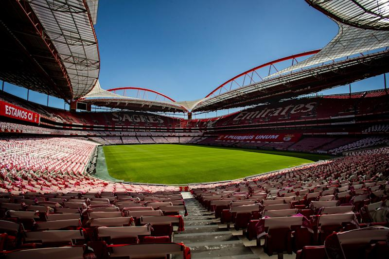 General view of the Luz Stadium in Lisbon, taken on June 17, 2020 . - The UEFA Champions League quarter-finals, semi-finals and final will be played as a straight knockout tournament in Lisbon between 12 and 23 August 2020. All these ties will be single-leg fixtures, UEFA announced today. (Photo by CARLOS COSTA / AFP) (Photo by CARLOS COSTA/AFP via Getty Images)