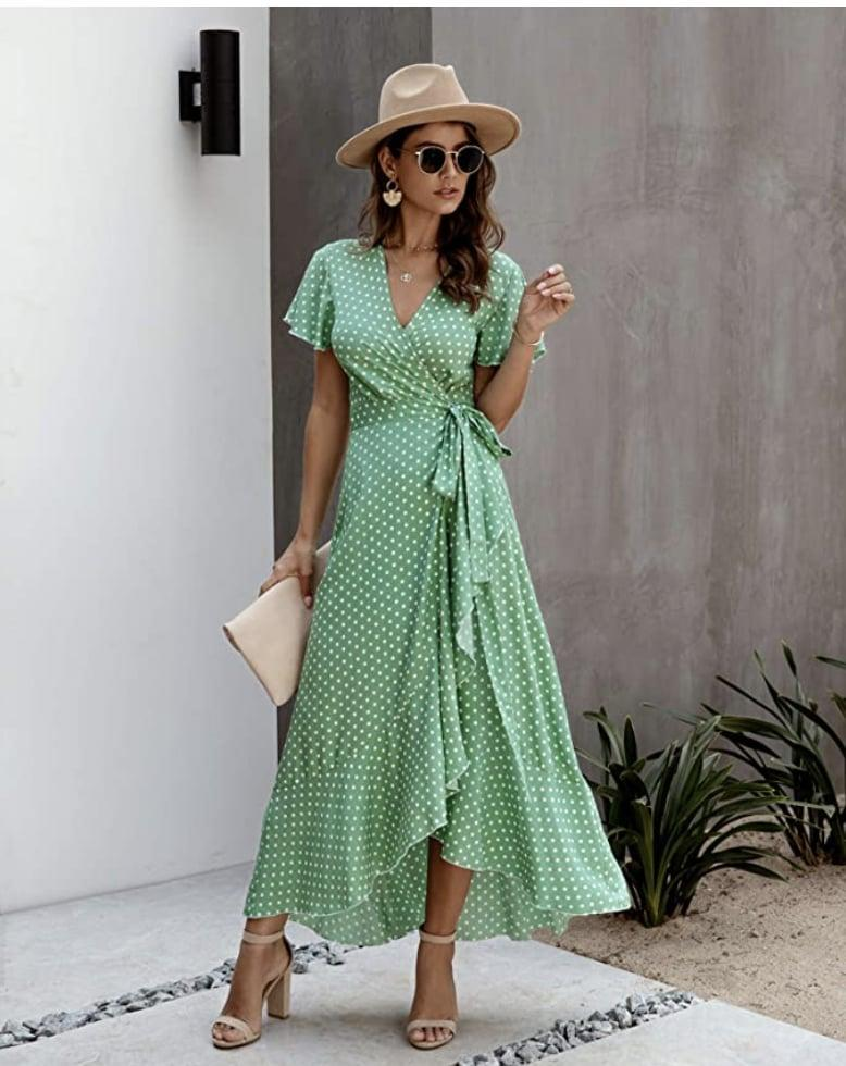 <p>This <span>Ecowish Bohemian Wrap V Neck Dress</span> ($20 - $31) is all about the ruffles, and it will add a pep in your step. </p>