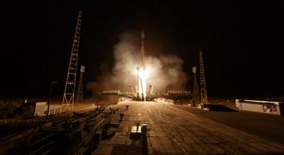 The Soyuz MS-15 spacecraft carrying Expedition 61 crew members Jessica Meir of NASA and Oleg Skripochka of Roscosmos, and spaceflight participant Hazzaa Ali Almansoori of the United Arab Emirates launches Wednesday, Sept. 25, 2019, from the Baikonur Cosmodrome in Kazakhstan. (Credit: NASA/Bill Ingalls)