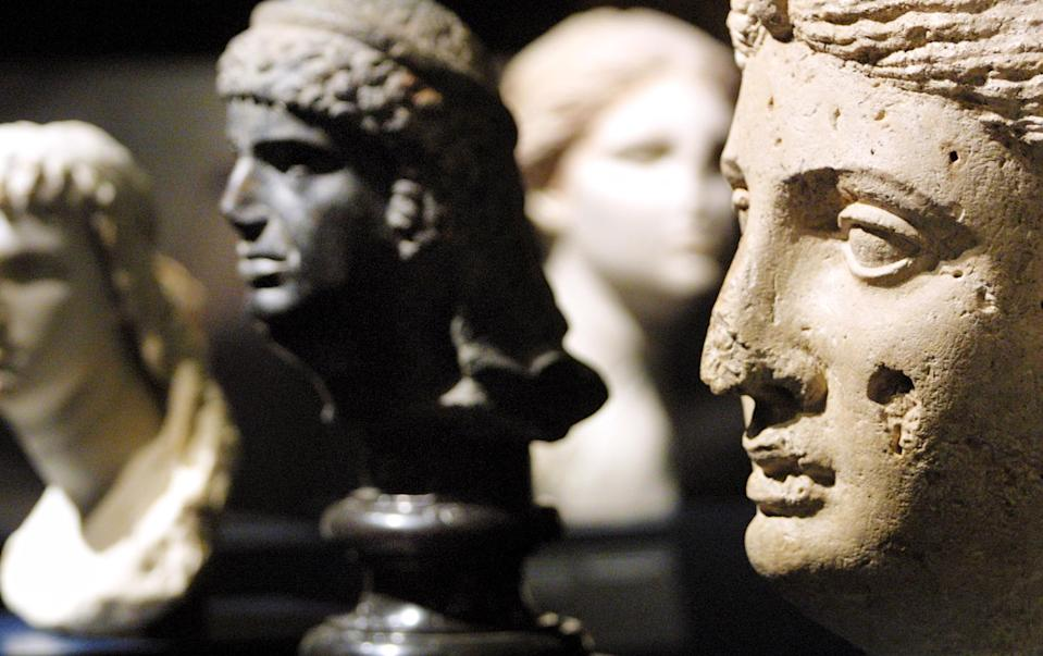 Marble portraits of Cleopatra at The British Museum in April 2001. (Adrian Dennis/AFP via Getty Images)