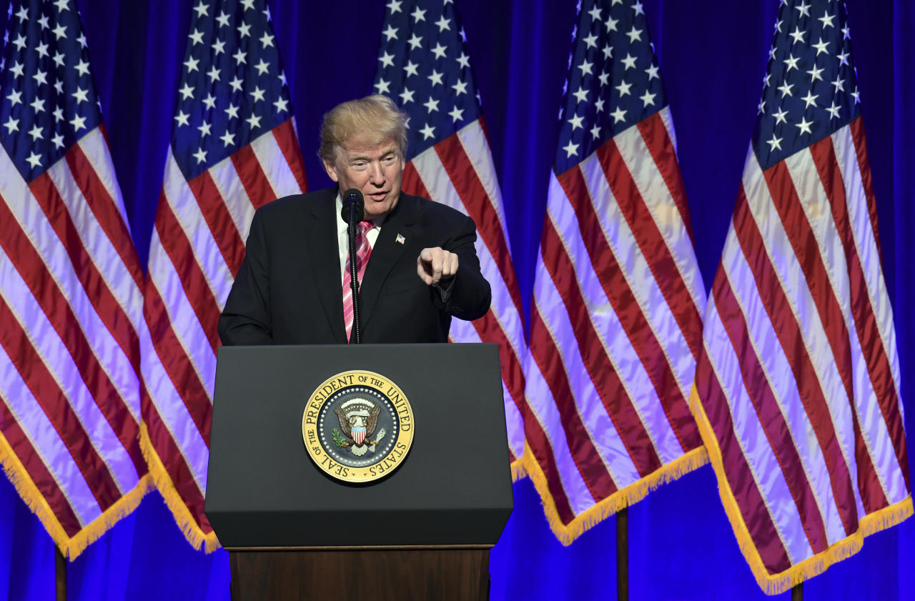 <p>President Donald Trump speaks at the opening of the Mississippi Civil Rights Museum in Jackson, Miss., Saturday, Dec. 9, 2017. (Photo: Susan Walsh/AP) </p>
