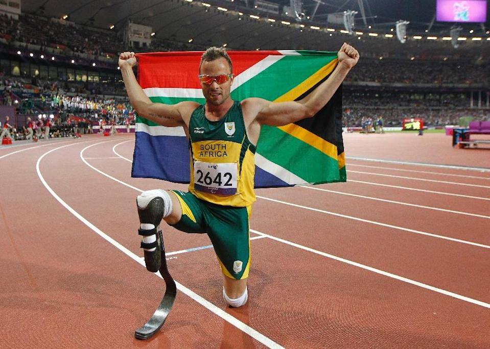 South Africa's Oscar Pistorius poses at the London Paralympic Games on September 8, 2012 (AFP Photo/Ian Kington)