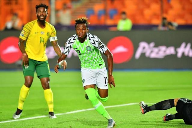 Samuel Chukwueze scored the opening goal in a 2-1 win over South Africa in the quarter-finals (AFP Photo/Giuseppe CACACE)