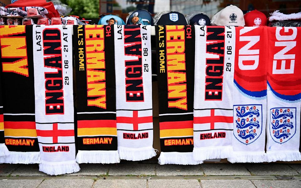 England and Germany scarves at a fan stall outside Wembley Stadium - ANDY RAIN/EPA-EFE/Shutterstock