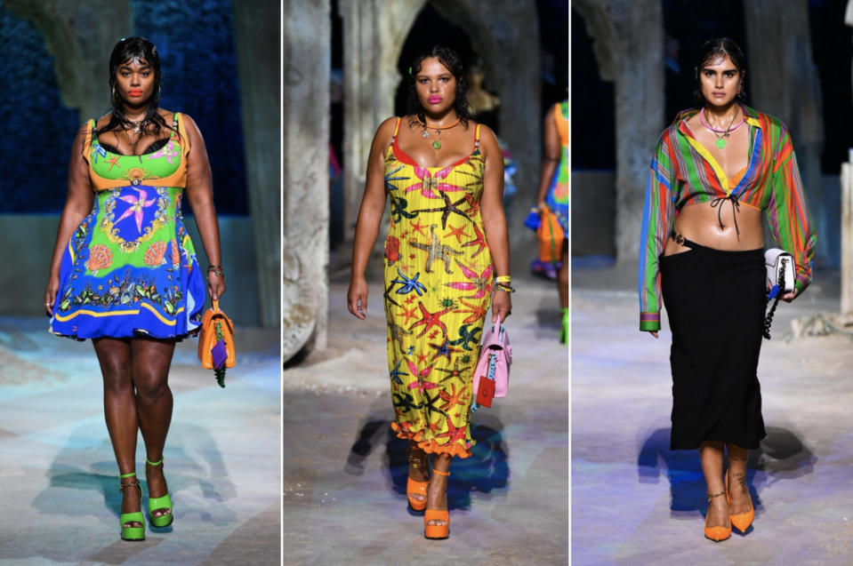 Precious Lee, Alva Claire and Jill Kortleve make history on the Versace runway in Milan. (Photo: Getty Images)