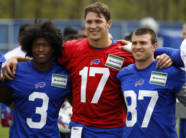 Buffalo Bills rookies Ray-Ray McCloud (3), Josh Allen (17) and Austin Proehl (87) pose for a photograph following the team's NFL football rookie minicamp, Friday, May 11, 2018, in Orchard Park, N.Y. (AP Photo/Jeffrey T. Barnes)