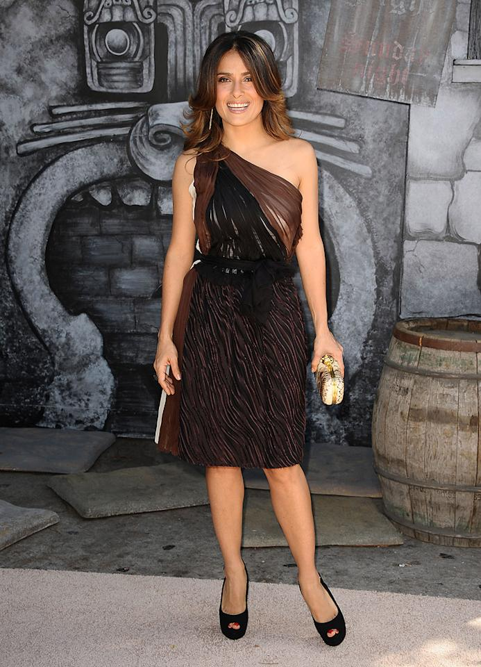 """<a href=""""http://movies.yahoo.com/movie/contributor/1800018952"""">Salma Hayek</a> at the Los Angeles premiere of <a href=""""http://movies.yahoo.com/movie/1809796671/info"""">Puss in Boots</a> on October 23, 2011."""