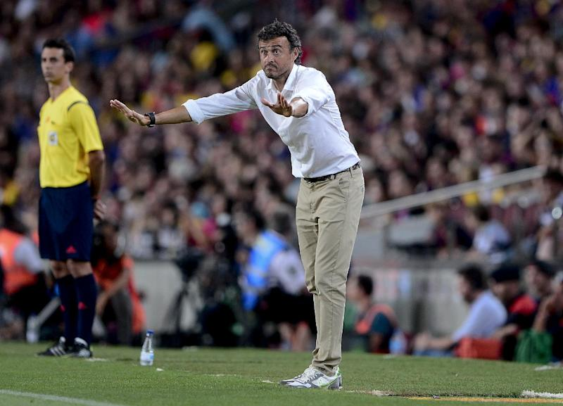 Barcelona's coach Luis Enrique Martinez, seen during the 49th Joan Gamper Trophy match, Barcelona vs Leon Club, at the Camp Nou stadium in Barcelona, on August 18, 2014