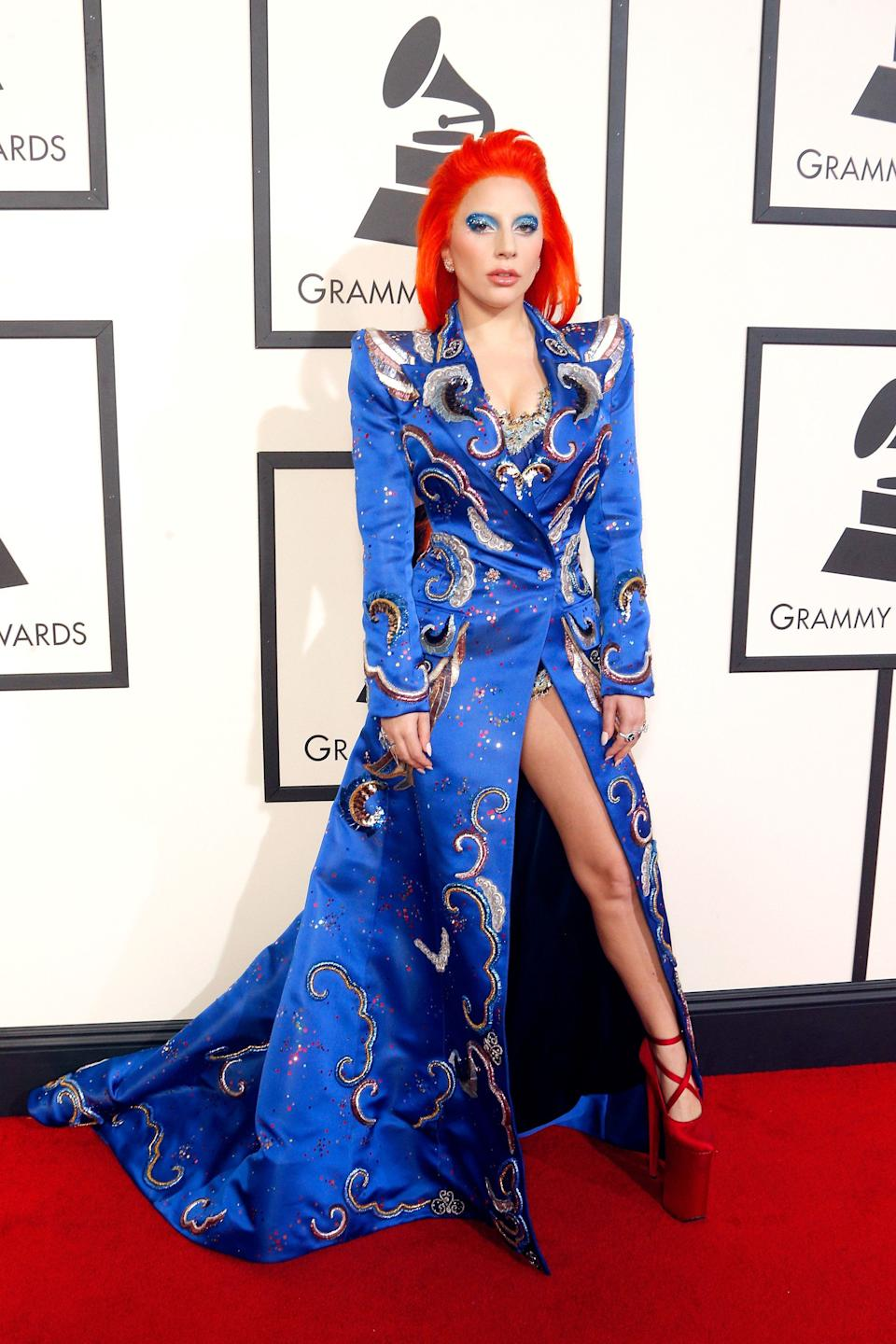 Gaga wears a Bowie-inspired design by Marc Jacobs at the 2016 Grammy Awards.