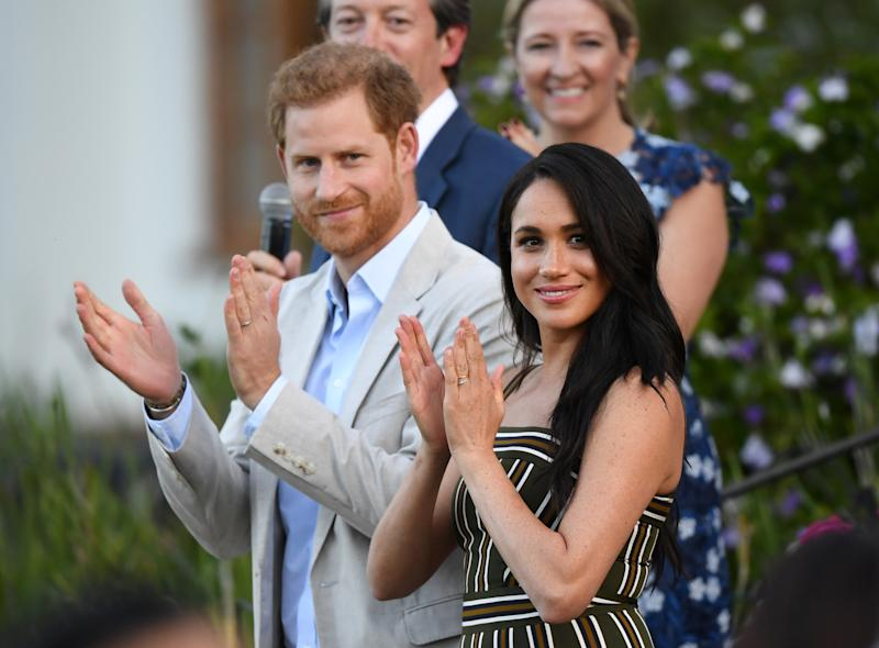 The Duke and Duchess of Sussex, Prince Harry and his wife Meghan, attend a reception for young people, community and civil society leaders at the Residence of the British High Commissioner in Cape Town, South Africa, September 24, 2019. Facundo Arrizabalaga/Pool via REUTERS