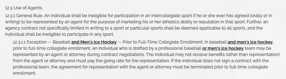 "NCAA bylaw 12.3.1 states ""An individual shall be ineligible for participation in an intercollegiate sport if he or she has agreed (orally or in writing) to be represented by an agent."""