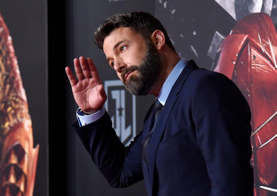 """Ben Affleck, a cast member in """"Justice League,"""" poses at the premiere of the film at the Dolby Theatre on Monday, Nov. 13, 2017, in Los Angeles. (Photo by Chris Pizzello/Invision/AP)"""