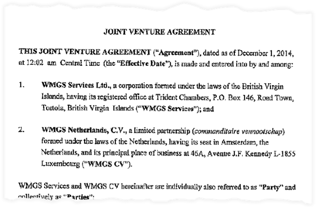 """The opening of the """"fictitious"""" """"joint venture"""" agreement between two Walmart subsidiaries"""