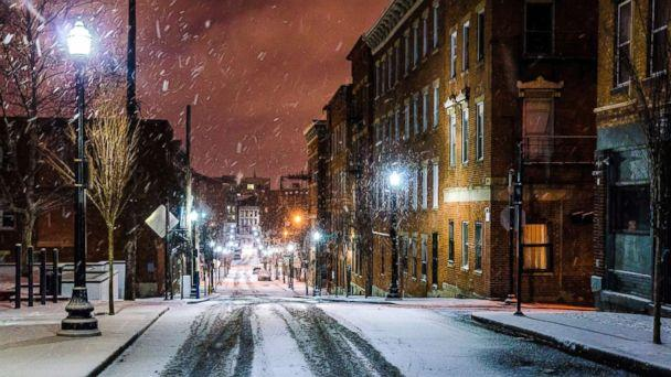 PHOTO: Snow falls in a historic district of Cincinnati in an undated stock photo. (STOCK PHOTO/Getty Images)