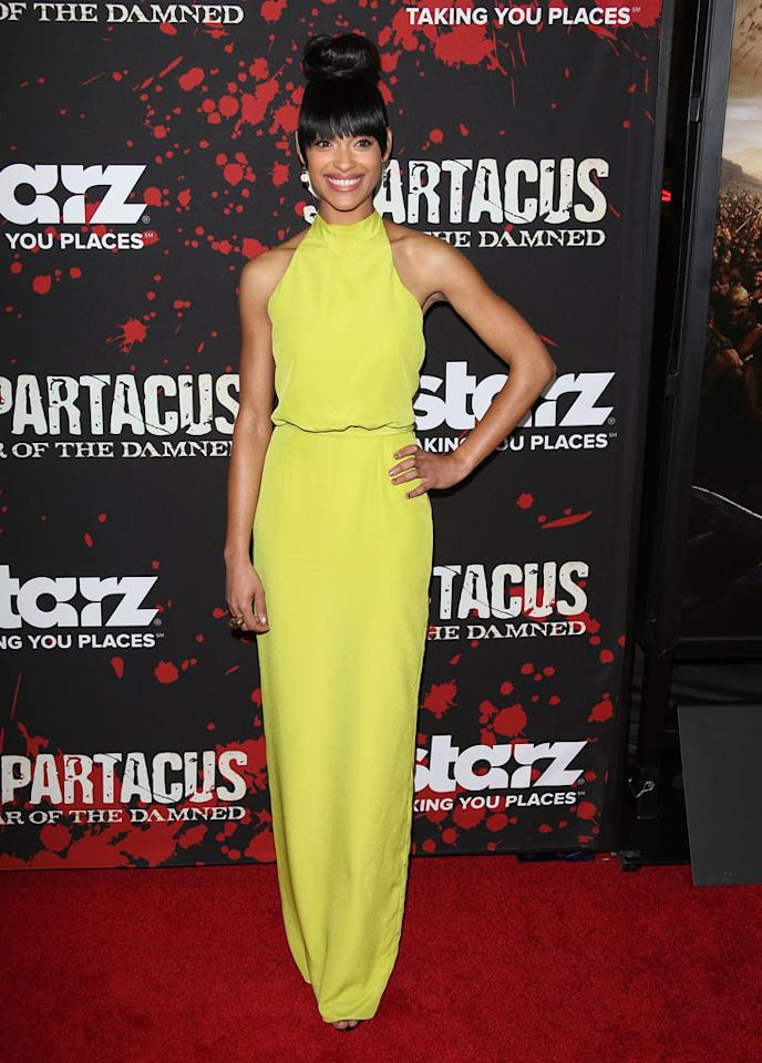 "Cynthia Addai-Robinson attends the premiere of Starz's ""Spartacus: War of the Damned"" at Regal Cinemas L.A. Live on January 22, 2013 in Los Angeles, California."