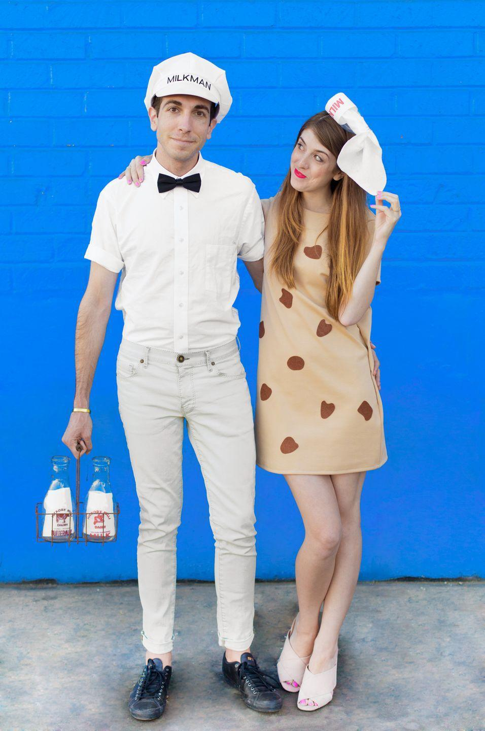 """<p>The cutest last-minute costume you ever did see.</p><p>Get the directions <a href=""""https://studiodiy.com/2016/10/06/diy-cookies-milk-couples-costume/"""" rel=""""nofollow noopener"""" target=""""_blank"""" data-ylk=""""slk:here"""" class=""""link rapid-noclick-resp"""">here</a>.</p>"""
