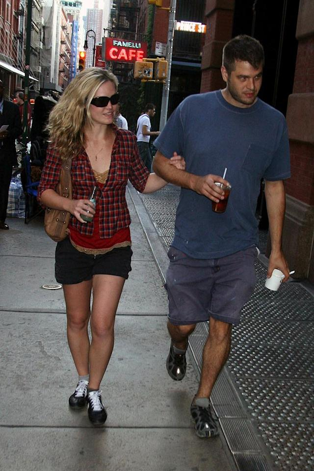 """Julia Stiles walks arm and arm through SoHo with her boyfriend. We can't help but wonder what possessed Julia to pair those shoes with that outfit! Demis Maryannakis/<a href=""""http://www.splashnewsonline.com/"""" target=""""new"""">Splash News</a> - September 13, 2007"""