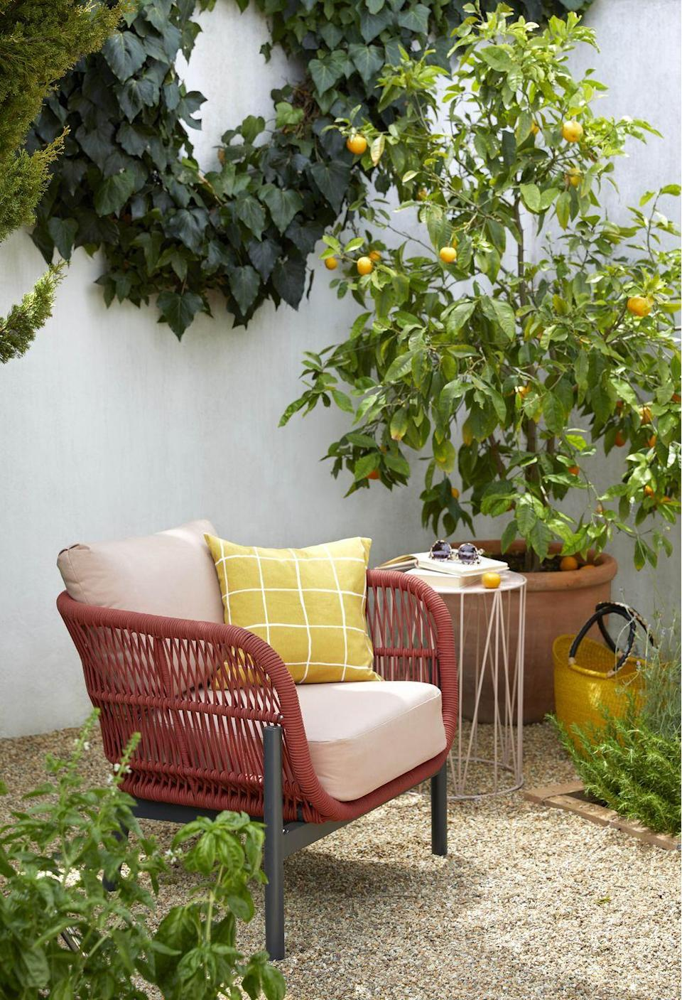 """<p>Complete your outdoor space with weatherproof <a href=""""https://www.housebeautiful.com/uk/garden/g32139876/outdoor-cushions/"""" rel=""""nofollow noopener"""" target=""""_blank"""" data-ylk=""""slk:garden cushions"""" class=""""link rapid-noclick-resp"""">garden cushions</a>. 'As well as bringing much needed comfort to your garden seating, the addition of outdoor cushions allows you to blur the lines between interior and exterior, helping to create a space that is often left unused through half the year, feel like a carefully considered living area,' says Martin Waller, founder of <a href=""""https://www.andrewmartin.co.uk/"""" rel=""""nofollow noopener"""" target=""""_blank"""" data-ylk=""""slk:Andrew Martin"""" class=""""link rapid-noclick-resp"""">Andrew Martin</a>.</p><p>Shop the full look at John Lewis</p><p><a class=""""link rapid-noclick-resp"""" href=""""https://www.housebeautiful.com/uk/garden/g32139876/outdoor-cushions/"""" rel=""""nofollow noopener"""" target=""""_blank"""" data-ylk=""""slk:READ MORE: THE BEST OUTDOOR CUSHIONS"""">READ MORE: THE BEST OUTDOOR CUSHIONS</a></p>"""