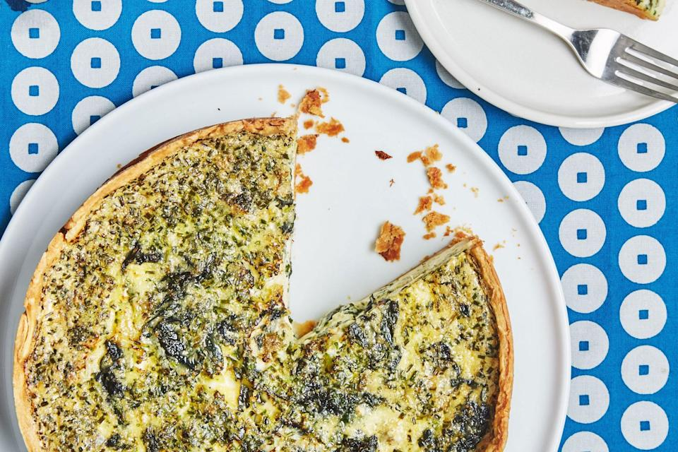 """Extra greens and extra cheese make this brunch classic extra-flavorful. <a href=""""https://www.epicurious.com/recipes/food/views/broccoli-and-cheese-quiche?mbid=synd_yahoo_rss"""" rel=""""nofollow noopener"""" target=""""_blank"""" data-ylk=""""slk:See recipe."""" class=""""link rapid-noclick-resp"""">See recipe.</a>"""