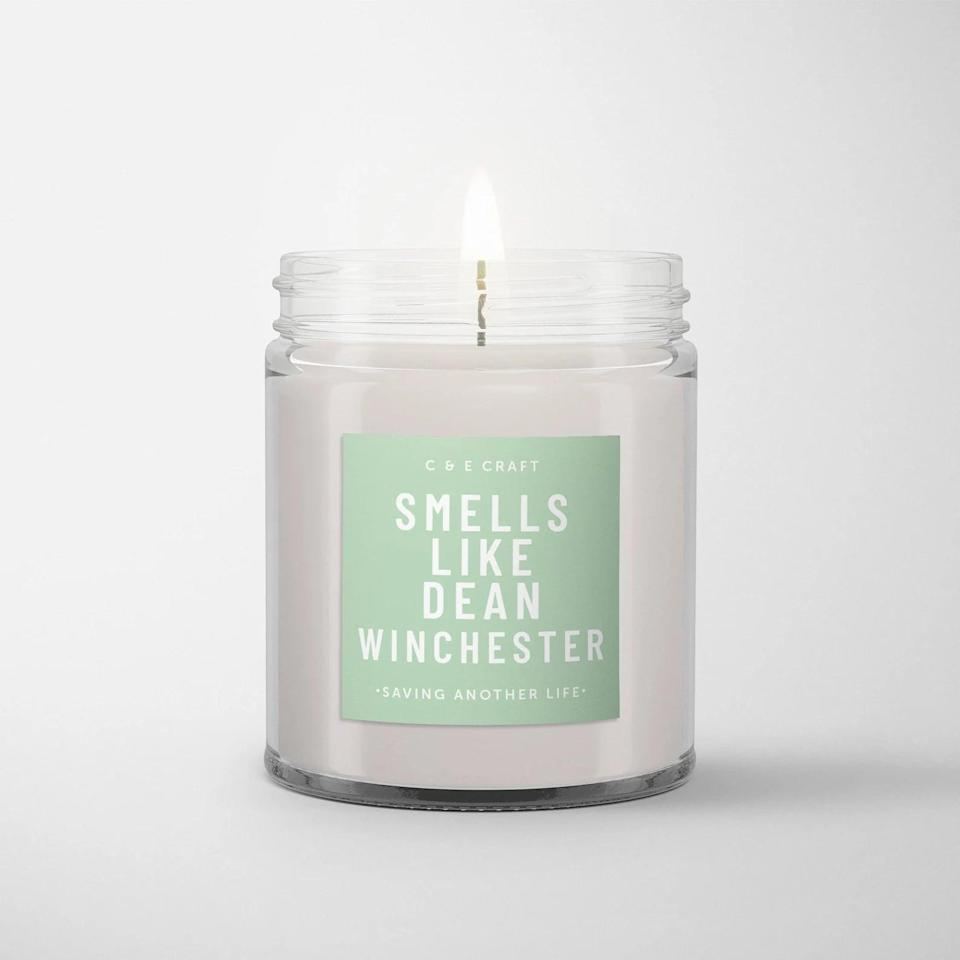 <p>If they are in love with Dean Winchester, get them this <span>C&amp;E Smells Like Dean Winchester Soy Wax Candle</span> ($17-$22). Choose between a variety of scents including flannel musk, iced vanilla woods, white driftwood, and more. If they are in love with Sam Winchester, get them this<br> <span>C&amp;E Smells Like Sam Winchester Soy Wax Candle</span> ($17-$22).</p>