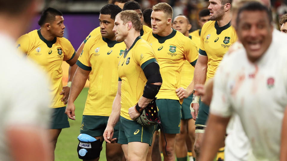 The Wallabies players looking dejected.