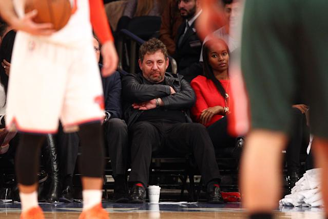 Madison Square Garden chairman James Dolan sits, sinks and sulks. (Brad Penner-USA TODAY Sports)