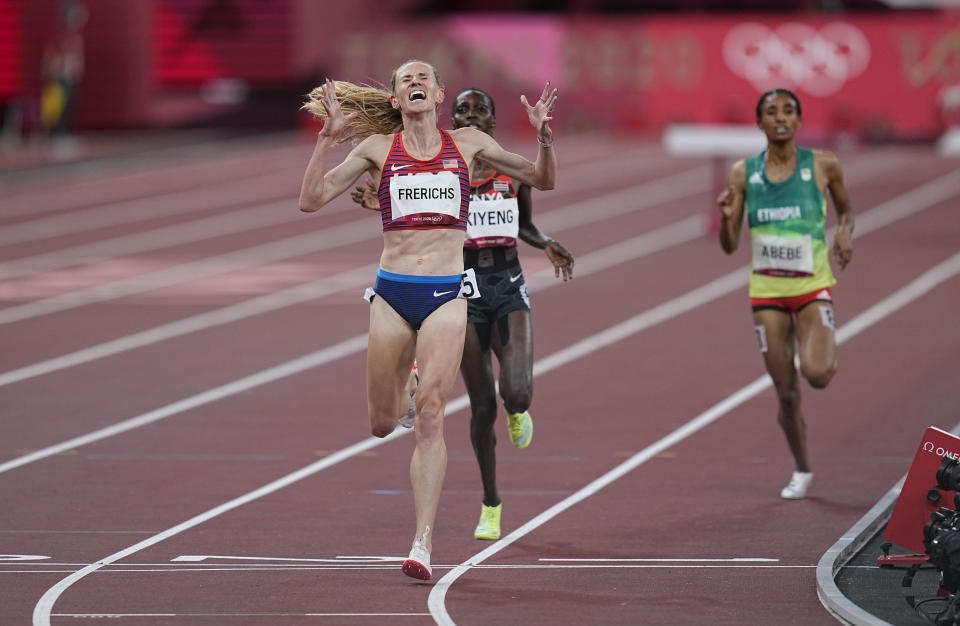 <p>Courtney Frerichs from United States winning silver in 3000 meter steeplechase for women at the Tokyo Olympics, Tokyo Olympic stadium, Tokyo, Japan on August 4, 2021. (Photo by Ulrik Pedersen/NurPhoto via Getty Images)</p>